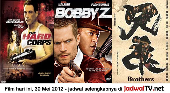 Jadwal Film dan Sepakbola 30 Mei 2012 Film hari ini: - TransTV 20.15WIB: The Phantom (1996 – Billy Zane, Kristy Swanson, Treat Williams) - GlobalTV 21.00WIB: The Death And Life Of Bobby Z (2007 – Paul Walker, Laurence Fishburne, Olivia Wilde) - TransTV 22.15WIB: The Hard Cops (2006 – Jean-Claude Van Damme, Razaaq Adoti and [...]
