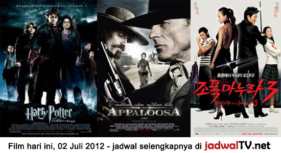 Jadwal Film dan Sepakbola 2 Juli 2012 Film hari ini: - RCTI 07.00WIB: Doraemon:Nobita Dan Dinosaurus (animasi) - GlobalTV 08.30WIB: Honey I Blew Up The Kid (1992 – Rick Moranis, Marcia Strassman, Robert Oliveri, Daniel Shalikar, Joshua Shalikar) - GlobalTV 18.00WIB: Spymate (2006 – Barry Bostwick, Richard Kind, Kathyrin Kirkpatrick, Jay Brazeau) - TransTV 20.00WIB: [...]