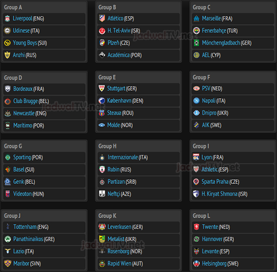 drawing uefa europa league 2012 2013 fase grup august 31 2012 acara tv