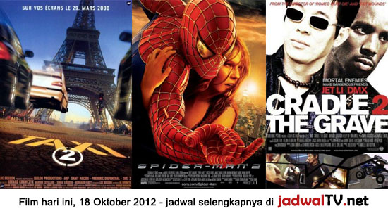 Jadwal Film dan Sepakbola 18 Oktober 2012 Film hari ini: – GlobalTV 19.00WIB: Taxi 2 (2000 – Samy Naceri, Frederic Diefenthal, Marion Cotillard) – TransTV 20.00WIB: Spider-Man 2 (2004 – Tobey Maguire, Kirsten Dunst, Alfred Molina) – GlobalTV 21.30WIB: City Hunter (1993 – Jackie Chan, Joey Wang, Chingmy Yau) – RCTI 22.00WIB: Cradle 2 The […]