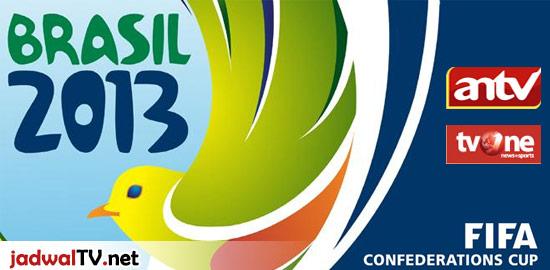 Jadwal Piala Konfederasi Brasil 2013 Piala Konfederasi Brasil 2013 akan berlangsung dari tanggal 15 Juni – 30 Juni waktu setempat (atau 16 Juni – 1 Juli waktu Indonesia bagian barat) dengan pembagian grup dan jadwal sebagai berikut: Grup A: Brasil, Italia, Meksiko, Jepang Grup B: Spanyol, Uruguay, Tahiti, Nigeria Jadwal Grup A : Tanggal – […]