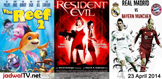 Jadwal Film dan Sepakbola 23 April 2014 – GlobalTV 06.30WIB: Tinker Bell and The Great Fairy Rescue (2010 – animasi) – GlobalTV 18.00WIB: The Reef 2 (2012 – animasi) – antv 22.30WIB: Hantu Biang Kerok (2009 – Elvy Sukaesih, Fadli Fuad, Kamidia Radisti) – RCTI 22.30WIB: Resident Evil (2002 – Milla Jovovich, Colin Salmon, Michelle […]