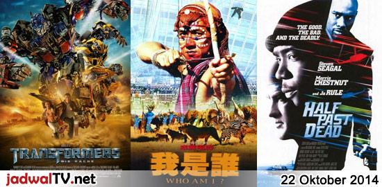 Jadwal Film dan Sepakbola 22 Oktober 2014 – GlobalTV 17.30WIB: Sammy's Adventure (2010 – animasi) – TransTV 18.00WIB: Transformers:Revenge of the Fallen (2009 – Shia LaBeouf, Megan Fox) – GlobalTV 20.30WIB: Who Am I? (1998 – Jackie Chan, Michelle Ferre, Mirai Yamamoto) – TransTV 20.30WIB: Half Past Dead (2002 – Steven Seagal, Morris Chestnut, Ja […]