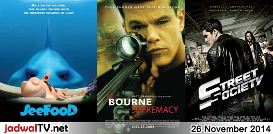 Jadwal Film dan Sepakbola 26 November 2014 – GlobalTV 18.30WIB: See Food (2011 – animasi) – GlobalTV 20.30WIB: The Bourne Supremacy (2004 – Matt Damon, Franka Potente, Joan Allen) – TransTV 23.00WIB: The Punisher:War Zone (2008 – Ray Stevenson, Dominic West, Doug Hutchison) – GlobalTV 23.00WIB: Derailed (2002 – Jean-Claude Van Damme, Tomas Arana) – […]
