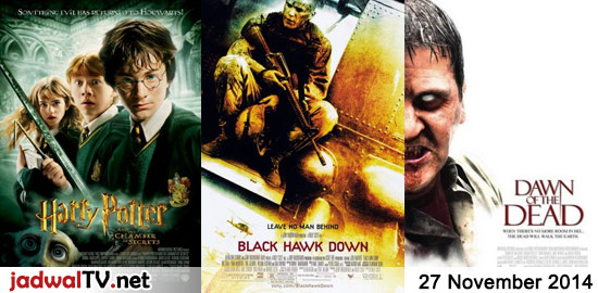 Jadwal Film dan Sepakbola 27 November 2014 – GlobalTV 17.30WIB: Harry Potter and The Chamber of Secrets (2002 – Daniel Radcliffe) – TransTV 18.30WIB: The Roommate (2011 – Minka Kelly, Leighton Meester, Cam Gigandet) – TransTV 20.45WIB: Priest (2011 – Cam Gigandet, Paul Bettany, Christopher Plummer) – RCTI 23.00WIB: Executive Decision (1996 – Kurt Russell, […]