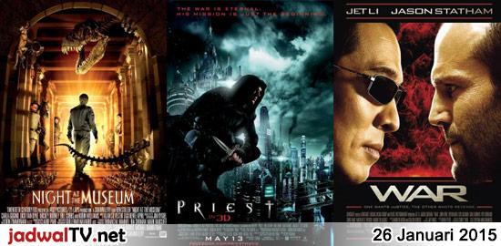 Jadwal Film dan Sepakbola 26 Januari 2015 – GlobalTV 18.30WIB: Night At The Museum (2006 – Ben Stiller, Carla Gugino, Dick Van Dyke) – TransTV 20.00WIB: Priest (2011 – Cam Gigandet, Paul Bettany, Christopher Plummer) – GlobalTV 21.00WIB: Rogue Assassin/War (2007 – Jason Statham, Jet Li, Nadine Velazquez) – RCTI 22.30WIB: The Incredible Hulk (2008 […]
