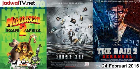Jadwal Film dan Sepakbola 24 Februari 2015 – GlobalTV 19.00WIB: Madagascar: Escape 2 Africa (2008 – animasi) – GlobalTV 21.00WIB: Source Code (2011 – Jake Gyllenhaal, Michelle Monaghan, Vera Farmiga) – TransTV 21.00WIB: The 6th Day (2000 – Arnold Schwarzenegger, Michael Rapaport) – RCTI 22.30WIB: The Raid 2:Berandal (2014 – Iko Uwais, Julie Estelle, Yayan […]