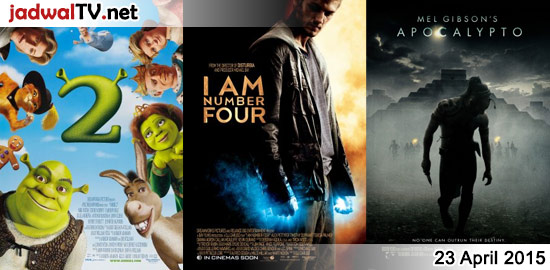 Jadwal Film dan Sepakbola 23 April 2015 – RCTI 09.30WIB: Barbie Fairytopia Magic of the Rainbow (2007 – animasi) – GlobalTV 19.00WIB: Shrek 2 (2004 – animasi) – TransTV 21.00WIB: Frankenfish (2004 – Tory Kittles, K.D. Aubert, China Chow) – GlobalTV 21.00WIB: I Am Number Four (2011 – Alex Pettyfer, Timothy Olyphant, Dianna Agron) – […]