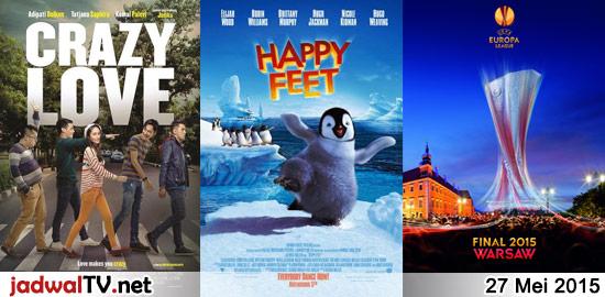 Jadwal Film dan Sepakbola 27 Mei 2015 – GlobalTV 08.00WIB: Impy's Wonderland (2008 – animasi) – RCTI 09.30WIB: Barbie in a Mermaid Tale 2 (2012 – animasi) – RCTI 12.30WIB: Crazy Love (2013 – Adipati Dolken, Kemal Palevi, Tatjana Saphira) – GlobalTV 19.00WIB: Happy Feet (2006 – animasi) – GlobalTV 21.30WIB: Fire Down Below (1997 […]