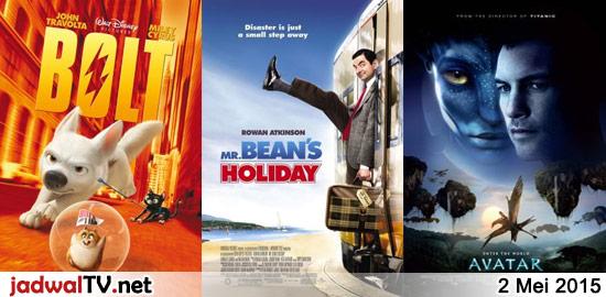 Jadwal Film dan Sepakbola 2 Mei 2015 – RCTI 07.00WIB: Doraemon:Nobita dan Labirin Kaleng (animasi) – GlobalTV 09.00WIB: Bolt (2008 – animasi) – MNCTV 12.00WIB: Mohabbatein (2000 – Amitabh Bachchan, Shah Rukh Khan, Uday Chopra) – GlobalTV 15.00WIB: Bean (1997 – Rowan Atkinson, Peter MacNicol, John Mills) – GlobalTV 19.00WIB: Mr. Beans Holiday (2007 – […]