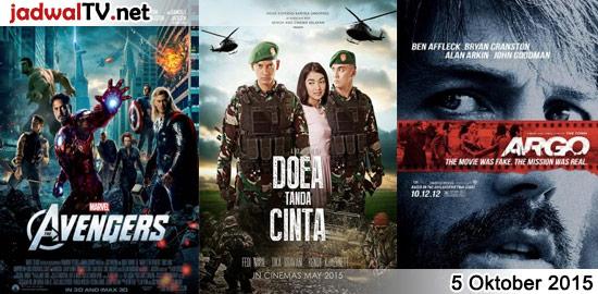 Jadwal 5 Oktober 2015 – RCTI 14.15WIB: Tinkerbell and the Great Fairy Rescue (2010 – animasi) – GlobalTV 19.00WIB: Ice Age:Continental Drift (2012 – animasi) – GlobalTV 21.00WIB: The Avengers (2012 – Robert Downey Jr., Chris Evans, Scarlett Johansson) – TransTV 22.30WIB: True Grit (2010 – Jeff Bridges, Matt Damon, Hailee Steinfeld) – RCTI 23.00WIB: […]