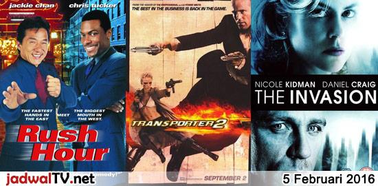 Jadwal Film 5 Februari 2016 – SCTV 14.00WIB: Hafalan Shalat Delisa (2011 – Chantiq Schagerl, Reza Rahadian, Nirina Zubir) – GlobalTV 15.00WIB: Tarzan (1999 – animasi) – GlobalTV 19.00WIB: George of the Jungle (1997 – Brendan Fraser, Leslie Mann) – TransTV 20.30WIB: Godzilla (1998 – Matthew Broderick, Jean Reno, Maria Pitillo) – GlobalTV 21.00WIB: Rush […]