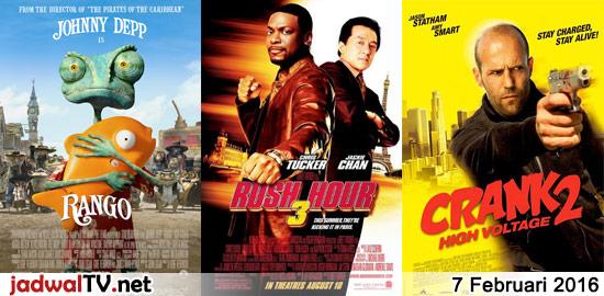 Jadwal Film dan Sepakbola 7 Februari 2016 – RCTI 14.00WIB: Arthur 2:The Revenge Maltazard (2009 – Freddie Highmore, Lou Reed) – SCTV 14.00WIB: Operation Wedding (2013 – Adipati Dolken, Yuki Kato, Kimberly Ryder) – GlobalTV 19.00WIB: Rango (2011 – animasi) – GlobalTV 21.00WIB: Rush Hour 3 (2007 – Jackie Chan, Chris Tucker, Max Von Sydow) […]