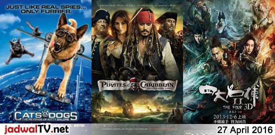 Jadwal Film dan Sepakbola 27 April 2016 – GlobalTV 18.00WIB: Cats and Dogs:The Revenge of Kitty Galore (2010 – Bette Midler) – GlobalTV 20.00WIB: Pirates Of The Caribbean:On Stranger Tides (2011 – Johnny Depp) – TransTV 21.30WIB: Double Team (1997 – Jean-Claude Van Damme, Dennis Rodman) – GlobalTV 23.00WIB: The Four 2 (2013 – Liu […]