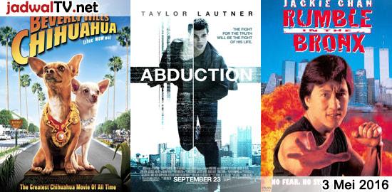 Jadwal Film dan Sepakbola 3 Mei 2016 – GlobalTV 16.00WIB: Tinker Bell (2008 – animasi) – GlobalTV 18.00WIB: Beverly Hills Chihuahua (2008 – Piper Perabo, Manolo Cardona) – GlobalTV 20.00WIB: Abduction (2011 – Taylor Lautner, Lily Collins, Alfred Molina) – TransTV 22.00WIB: Golden Eye (1995 – Pierce Brosnan, Sean Bean, Izabella Scorupco) – GlobalTV 22.30WIB: […]