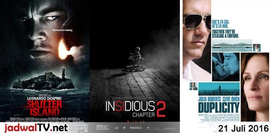 Jadwal Film dan Sepakbola 21 Juli 2016 – GlobalTV 16.00WIB: Batman:The Dark Knight Returns Part 1 (2012 – animasi) – TransTV 19.00WIB: Shutter Island (2010 – Leonardo DiCaprio, Mark Ruffalo, Ben Kingsley) – GlobalTV 19.00WIB: The Sorcerer And The White Snake (2011 – Jet Li, Shengyi Huang) – TransTV 21.00WIB: Insidious:Chapter 2 (2013 – Patrick […]
