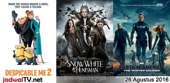 Jadwal Film dan Sepakbola 26 Agustus 2016 – GlobalTV 16.00WIB: Despicable Me 2 (2013 – animasi) – TransTV 19.00WIB: War of the Worlds (2005 – Tom Cruise, Dakota Fanning, Miranda Otto) – GlobalTV 20.30WIB: Snow White and the Huntsman (2012 – Kristen Stewart, Chris Hemsworth) – TransTV 21.00WIB: Crouching Tiger Hidden Dragon (2000 – Chow […]