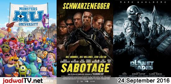 Jadwal Film dan Sepakbola 24 September 2016 – RCTI 07.00WIB: Toy Story 3 (2010 – animasi) – GlobalTV 16.00WIB: Monsters University (2013 – animasi) – GlobalTV 18.00WIB: Jurassic Park (1997 – Sam Neill, Laura Dern, Jeff Goldblum) – TransTV 20.00WIB: Sabotage (2014 – Arnold Schwarzenegger, Sam Worthington, Terrence Howard) – GlobalTV 20.30WIB: Planet Of The […]