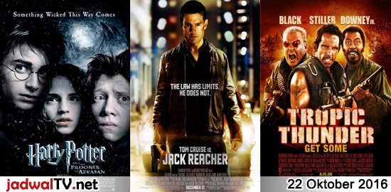 Jadwal Film dan Sepakbola 22 Oktober 2016 – RCTI 07.00WIB: The Wild (2006 – animasi) – GlobalTV 16.00WIB: Mighty Joe Young (1998 – Charlize Theron, Bill Paxton, Rade Serbedzija) – GlobalTV 18.00WIB: Harry Potter and the Prisoner of Azkaban (2004 – Daniel Radcliffe) – TransTV 20.00WIB: Jack Reacher (2012 – Tom Cruise, Rosamund Pike, Richard […]