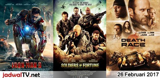 Jadwal Film dan Sepakbola 26 Februari 2017 – RCTI 14.00WIB: Barbie Fairytopia:Magic of The Rainbow (2007 – animasi) – GlobalTV 17.30WIB: Monster, Inc. (2001 – animasi) – TransTV 17.30WIB: Scooby-Doo and the Goblin King (2008 – animasi) – GlobalTV 19.30WIB: Iron Man 3 (2013 – Robert Downey Jr., Gwyneth Paltrow, Don Cheadle) – TransTV 19.30WIB: […]