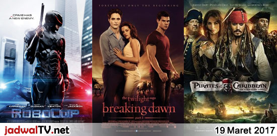 Jadwal Film dan Sepakbola 19 Maret 2017 – GlobalTV 12.00WIB: Shaolin Popeye (1994 – Jimmy Lin, Boboho, Shi Hsiao-Lung) – RCTI 13.30WIB: Bolt (2008 – animasi) – GlobalTV 13.30WIB: Small Soldiers (1998 – Kirsten Dunst, Gregory Smith, David Cross) – GlobalTV 15.00WIB: Wall-E (2008 – animasi) – TransTV 17.30WIB: Robocop (2014 – Joel Kinnaman, Gary […]