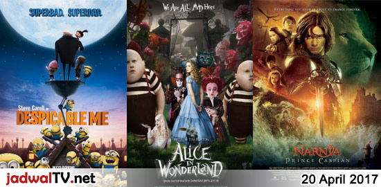 Jadwal Film dan Sepakbola 20 April 2017 – GlobalTV 07.00WIB: Despicable Me (2010 – animasi) – RCTI 12.00WIB: Alice in Wonderland (2010 – Mia Wasikowska, Johnny Depp) – GlobalTV 20.00WIB: The Chronicles of Narnia:Prince Caspian (2008 – William Moseley) – TransTV 21.00WIB: Bioskop TransTV – GlobalTV 22.00WIB: Iron Monkey (1993 – Yu Rongguang, Donnie Yen, […]