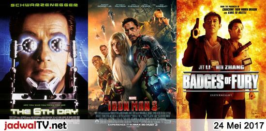 Jadwal Film dan Sepakbola 24 Mei 2017 – RCTI 08.15WIB: Barbie As The Princess And The Pauper (2004 – animasi) – GlobalTV 16.30WIB: Naruto Shippuden The Movie (animasi) – TransTV 20.00WIB: The 6th Day (2000 – Arnold Schwarzenegger, Michael Rapaport, Tony Goldwyn) – GlobalTV 20.00WIB: Iron Man 3 (2013 – Robert Downey Jr., Gwyneth Paltrow, […]