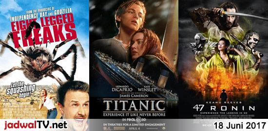 Jadwal Film dan Sepakbola 18 Juni 2017 – GlobalTV 06.00WIB: Dr. Seuss' Horton Hears a Who! (2008 – animasi) – GlobalTV 12.00WIB: Home Alone 2 (1992 – Macaulay Culkin, Joe Pesci, Daniel Stern) – TransTV 19.30WIB: Eight Legged Freaks (2002 – David Arquette, Kari Wuhrer) – GlobalTV 20.30WIB: Titanic (1997 – Leonardo DiCaprio, Kate Winslet, […]