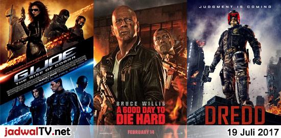 Jadwal Film dan Sepakbola 19 Juli 2017 – RCTI 12.00WIB: Rio 2 (2014 – animasi) – GlobalTV 12.00WIB: A Flying Jatt (2016 – Tiger Shroff, Jacqueline Fernandez, Nathan Jones) – TransTV 19.00WIB: G.I. Joe:The Rise of Cobra (2009 – Channing Tatum, Sienna Miller) – GlobalTV 21.00WIB: A Good Day to Die Hard (2013 – Bruce […]