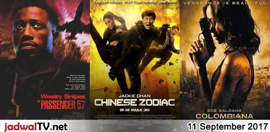 Jadwal Film dan Sepakbola 11 September 2017 – TransTV 20.30WIB: Passenger 57 (1992 – Wesley Snipes, Bruce Payne, Tom Sizemore) – GlobalTV 21.00WIB: Chinese Zodiac (2012 – Jackie Chan, Shu Qi, Haobo Chu) – TransTV 22.30WIB: Colombiana (2011 – Zoe Saldana, Michael Vartan, Callum Blue) – GlobalTV 23.00WIB: The Protector (1985 – Jackie Chan, Danny […]