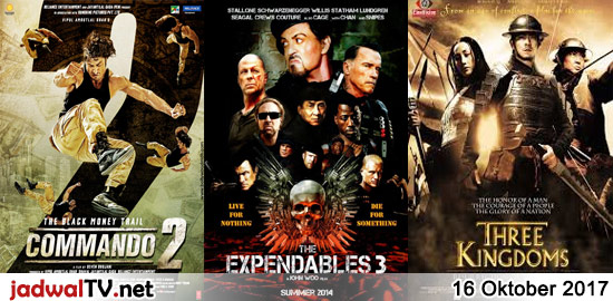 Jadwal Film dan Sepakbola 16 Oktober 2017 – RCTI 13.30WIB: Malaikat Kecil (2015 – Dwi Sasono, Tika Bravani, Cok Simbara) – TransTV 18.00WIB: The Tuxedo (2002 – Jackie Chan, Jennifer Love Hewitt, Jason Isaacs) – GlobalTV 19.00WIB: Commando 2 (2017 – Vidyut Jamwal, Adah Sharma, Esha Gupta) – TransTV 21.00WIB: The Expendables 3 (2014 – […]