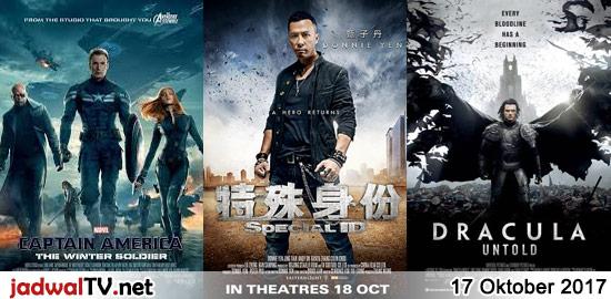 Jadwal Film dan Sepakbola 17 Oktober 2017 – RCTI 13.30WIB: Aku Ingin Ibu Pulang (2016 – Nirina Zubir, Teuku Rifnu Wikana) – TransTV 18.00WIB: Snakes On A Plane (2006 – Samuel L. Jackson, Julianna Margulies) – GlobalTV 19.00WIB: Captain America:The Winter Soldier (2014 – Chris Evans) – GlobalTV 21.00WIB: Special ID (2013 – Donnie Yen, […]