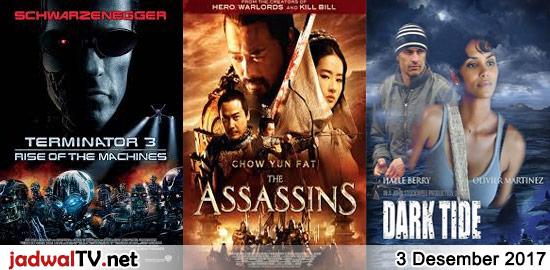 Jadwal Film dan Sepakbola 3 Desember 2017 – GlobalTV 13.00WIB: Ice Age:Dawn of the Dinosaurs (2009 – animasi) – GlobalTV 19.15WIB: Spy Kids 2 (2002 – Antonio Banderas, Carla Gugino, Alexa Vega) – TransTV 20.00WIB: Terminator 3:Rise of The Machines (2003 – Arnold Schwarzenegger) – GlobalTV 21.00WIB: The Assassins (2012 – Chow Yun-Fat, Liu Yifei, […]