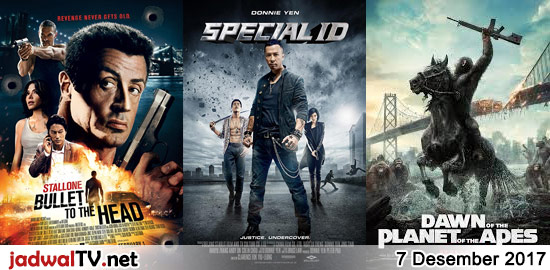 Jadwal Film dan Sepakbola 7 Desember 2017 Jadwal Film dan Sepakbola 7 Desember 2017 – GlobalTV 14.00WIB: Open Season:Scared Silly (2015 – animasi) – TransTV 19.00WIB: Bullet to the Head (2012 – Sylvester Stallone, Jason Momoa) – GlobalTV 21.00WIB: Special ID (2013 – Donnie Yen, Tian Jing, Andy On) – TransTV 22.00WIB: Out For Justice […]