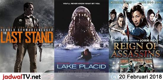 Jadwal Film dan Sepakbola 20 Februari 2018 – TransTV 21.00WIB: The Last Stand (2013 – Arnold Schwarzenegger, Jaimie Alexander) – TransTV 23.00WIB: Lake Placid (1999 – Bridget Fonda, Bill Pullman, Oliver Platt) – GlobalTV 23.30WIB: Reign of Assassins (2010 – Michelle Yeoh, Jung Woo-sung, Wang Xueqi) – TransTV 02.30WIB: Blood Surf (2000 – Rabu dinihari […]